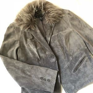 I.N.C. Misses Gray Suede Single Breasted Jacket